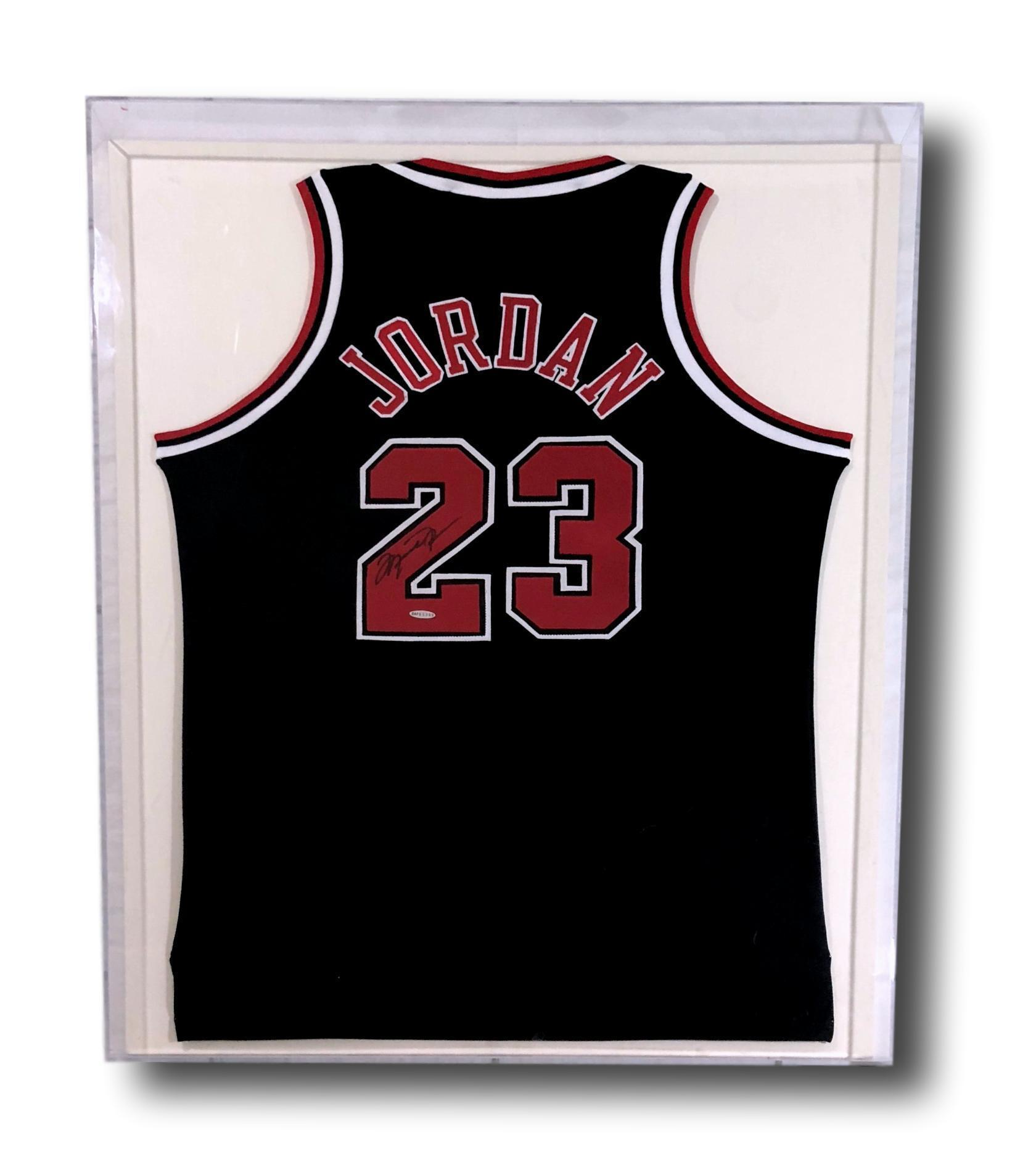 32ce80c086d38 Michael Jordan Signed & Framed Chicago Bulls Black Jersey Uda COA ...