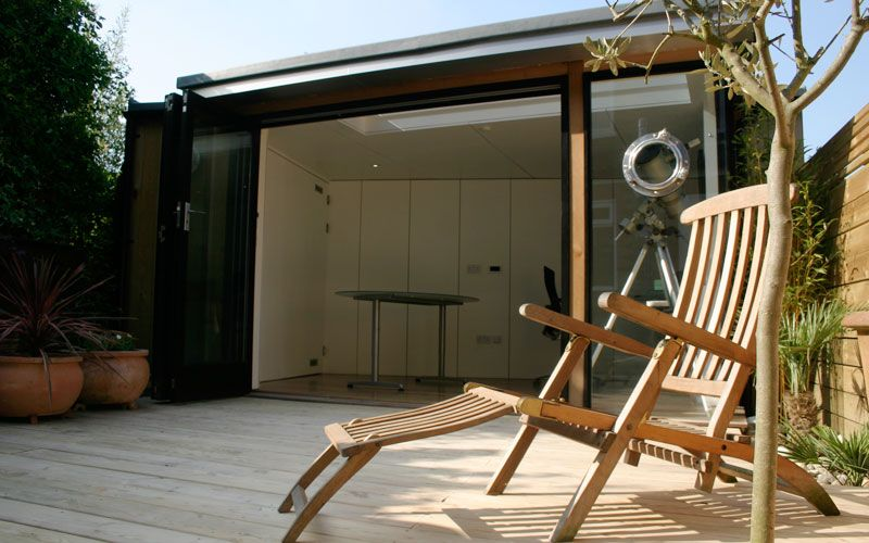 Chill out...the front of a garden office we build in a London urban garden