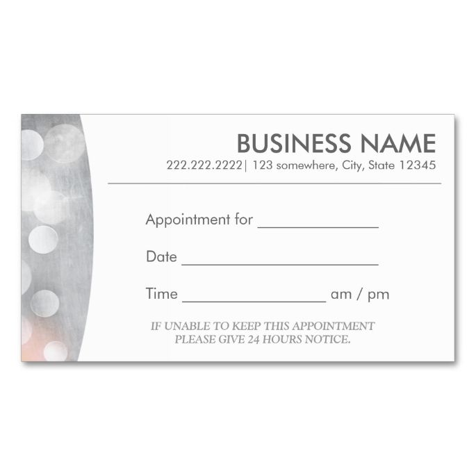 Modern Silver Appointment Business Card Appointment Business Card - Appointment business card template