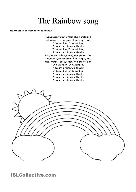 The Rainbow Song Kindergarten Worksheets Kindergarten Worksheets Printable Rainbow Songs [ 1440 x 1018 Pixel ]