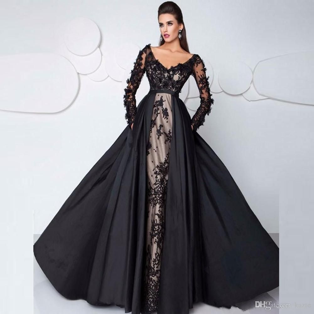 b6384cfd39 3D Floral Lace Long Sleeve Evening Pageant Dresses with Detachable Train  2018 Plus Size Off Shoulder Dubai Occasion Prom Wear Gowns Mermaid Wedding  Dress ...
