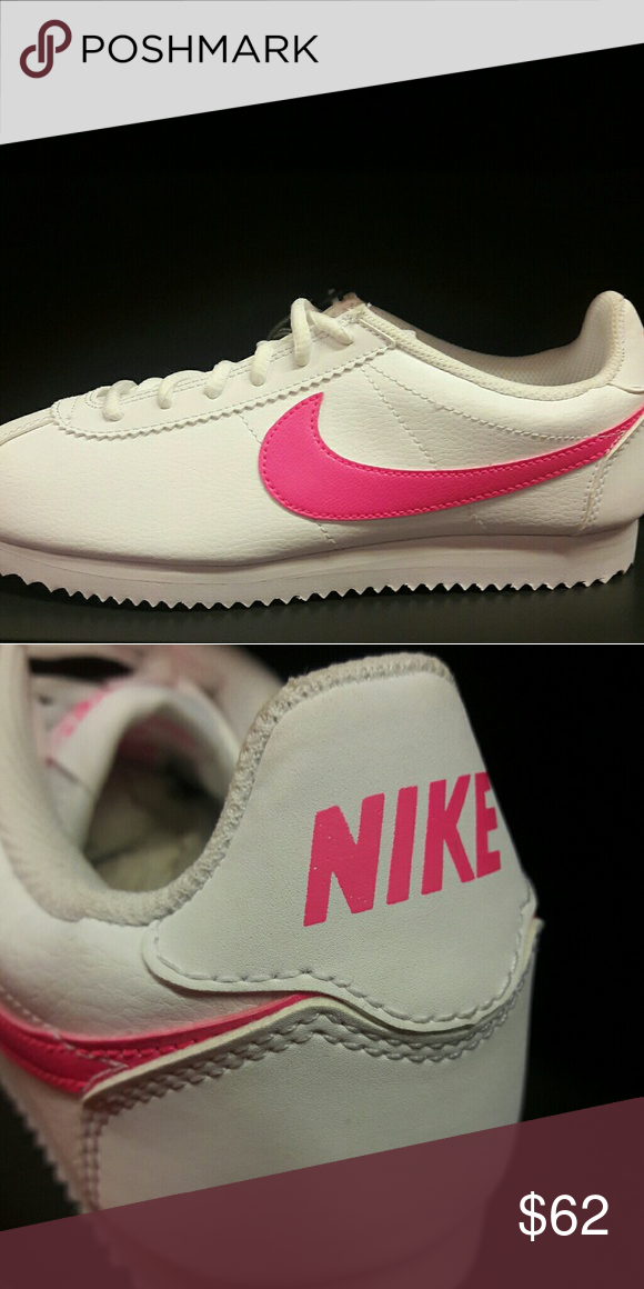 Nike cortez leather white pink Brand new with box Our sneakers are all 100%  Authentic