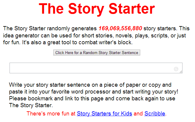 The Story Starter helps end writer's block with over a
