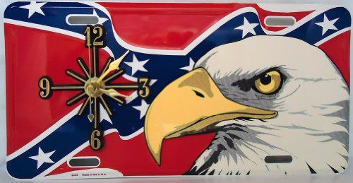 "1 , Rebel Clock, on, "" ,BALD EAGLE, on, REBEL, CONFEDERATE, DIXIE, FLAG, "", Metal Sign,,31A6.4,,,SHIPPED USPS,,, ASTRODEALS,http://www.amazon.com/dp/B00FQRR2T4/ref=cm_sw_r_pi_dp_Imcatb163DY6KPWZ"