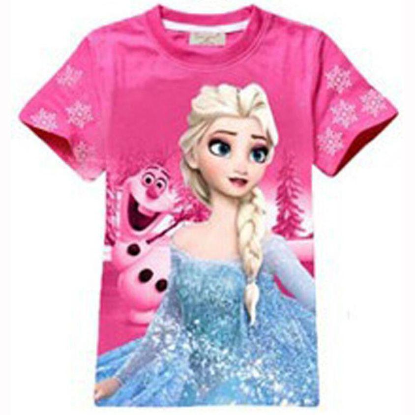 c71fb4667 Baby Girl Elsa Anna T shirt Print Cartoon Girls T shirts Cotton nova ...