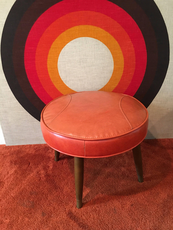 Mid Century Modern Ottoman Vinyl Footstool Vinyl Footrest Mid
