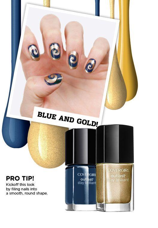 Los Angeles Rams Blue And Gold Rams Nail Art Gold Nail Art Football Nail Art Nails