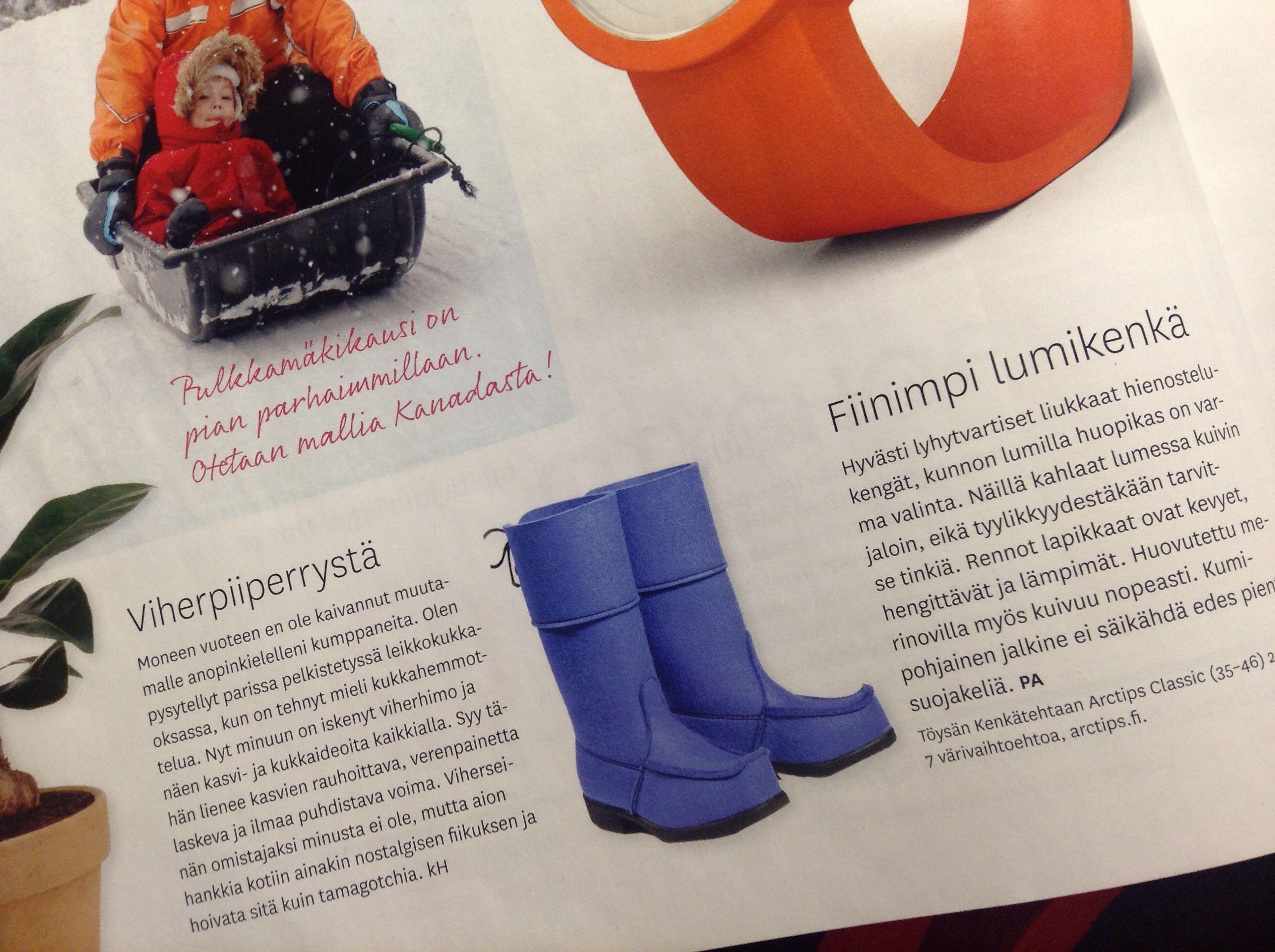 Arctips-saappaat Kauneus & Terveys -lehdessä 01/2014. www.arctips.fi