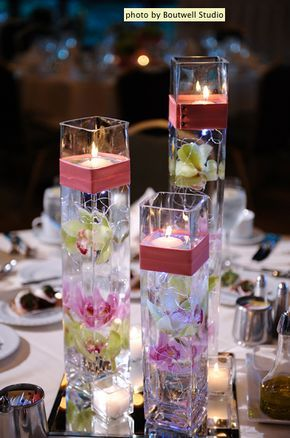BEAUTIFUL centerpiece idea. Floating candles and submerged flowers ...