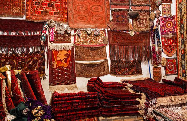 From traditional designs to Soviet Lenin kitsch, carpets abound in Bukhara, Uzbekistan Photo credit: Lindsay Fincher