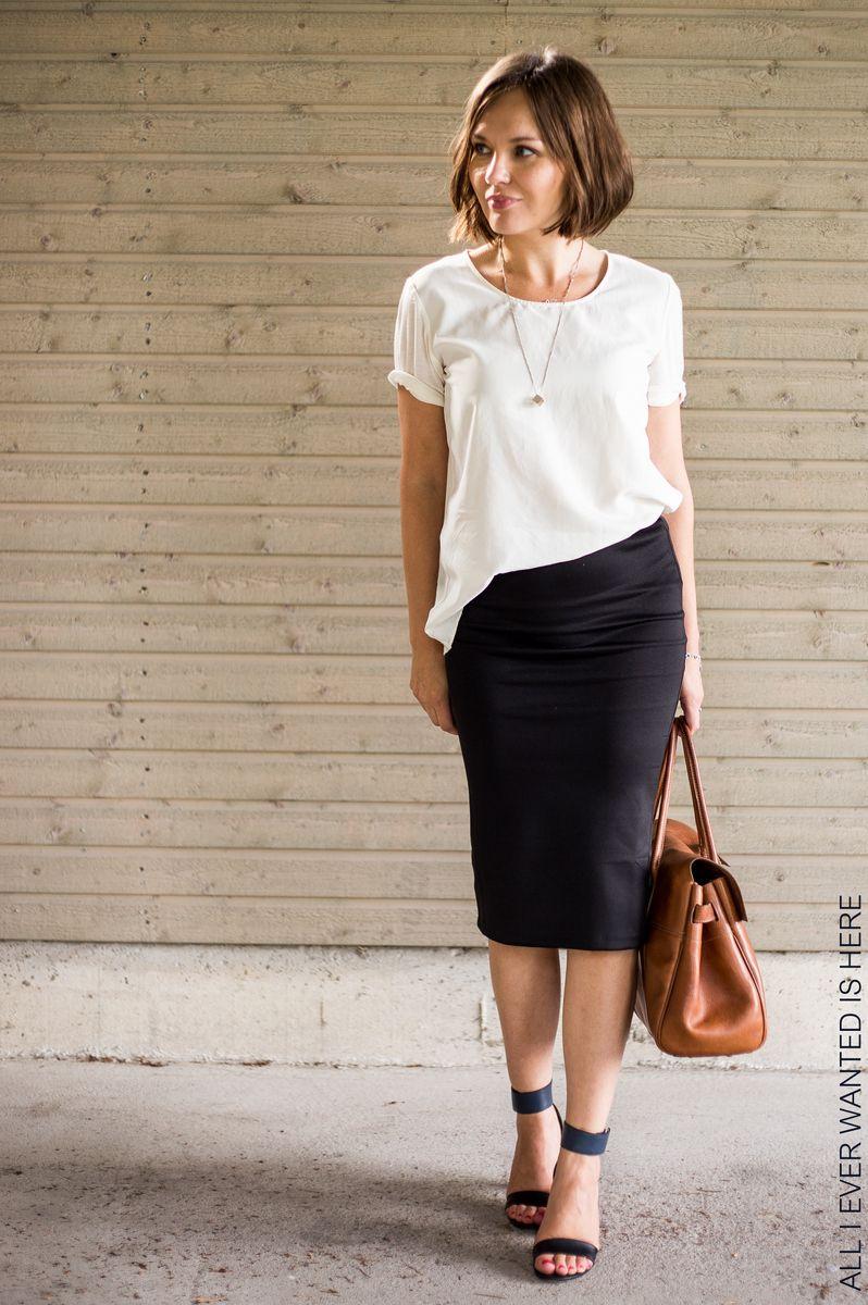 Black pencil skirt (lularoe cassie), white tee, black sandals heels, brown  leather bag