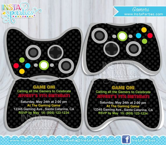 Gamer Party Invitations Games Birthday Invitation Invites Gamer Party Invitation Cards Gamer Xbox Party Video Games Birthday Party Party Invite Template