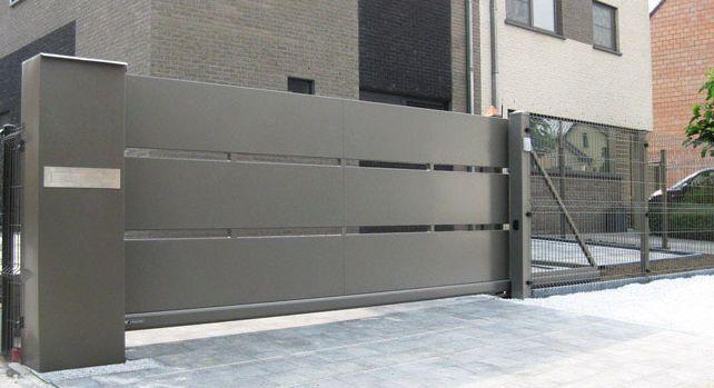 sliding gate metal bar panel modern system. Black Bedroom Furniture Sets. Home Design Ideas