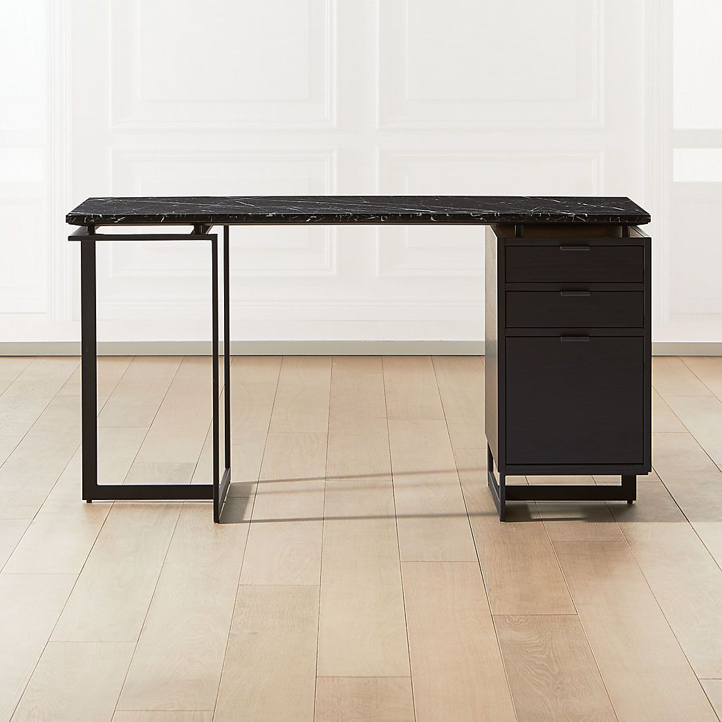 Modern Desks Rolling Leaning Modular More Cb2 In 2020 Black Desk Black Drawers Modular Desk