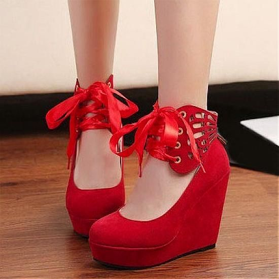 Wedges Shoes | Stunning Suede Round Closed Toe Super High Heel Lace-up Red Wedges - Hugshoes.com