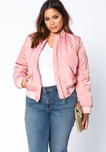 Plus Size Pink Pocket Bomber Jacket | debshops | this just in ...