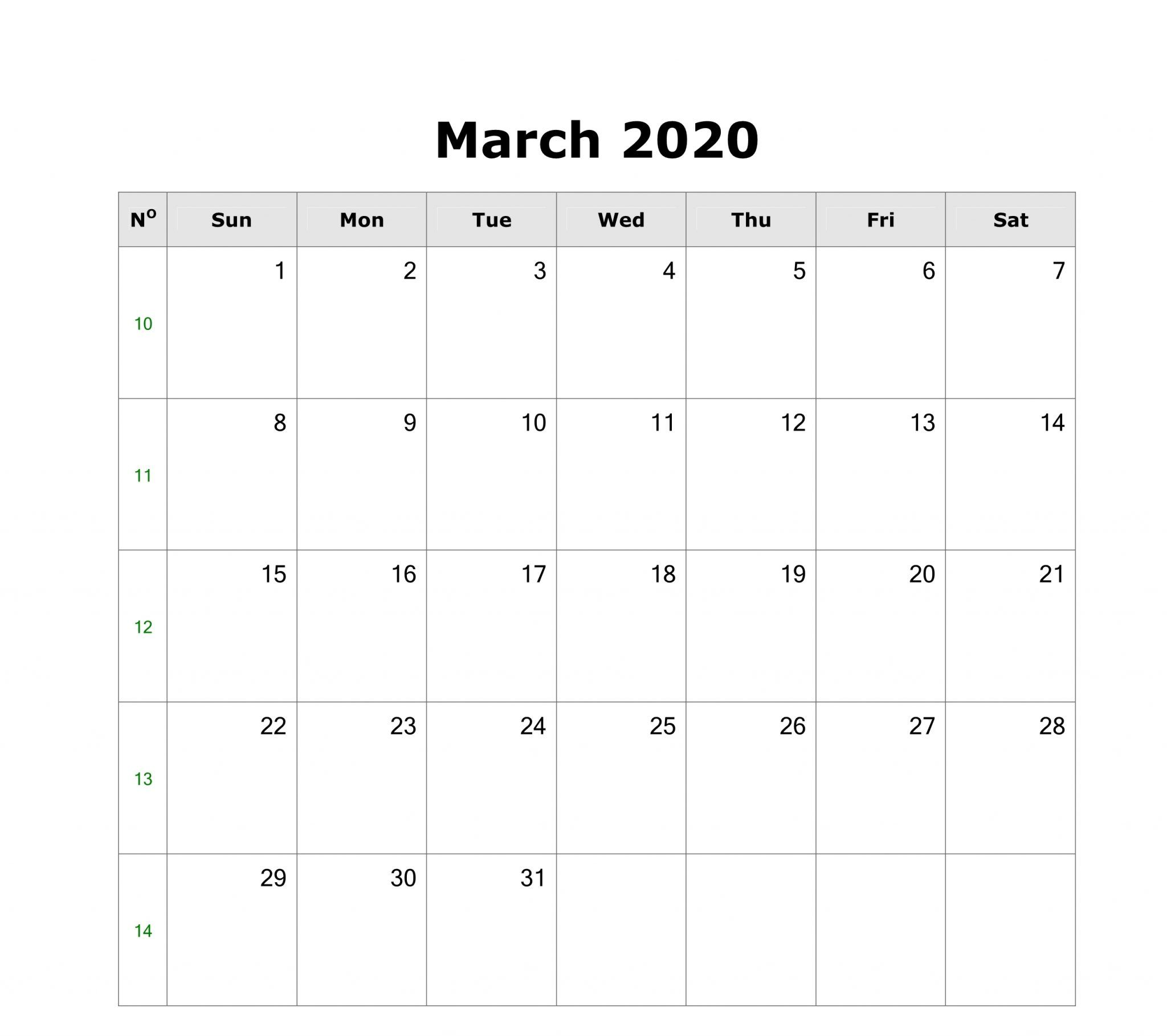 Free Printable March Calendar 2020 Monthly Templates In 2020