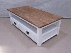 Landelijke Meubels Outlet : Landelijke witte wit salontafel koffietafel bruin kleurige top
