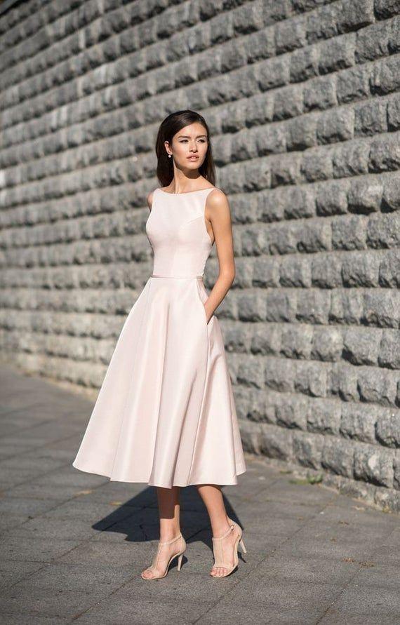 Tea length wedding dress 50s bridal midi gown satin modest reception dress50s