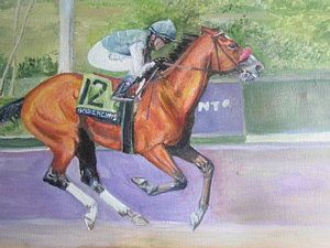 Horse Racing Painting - Goldencentswins Bcdirt Mile by Yvette Hirsch