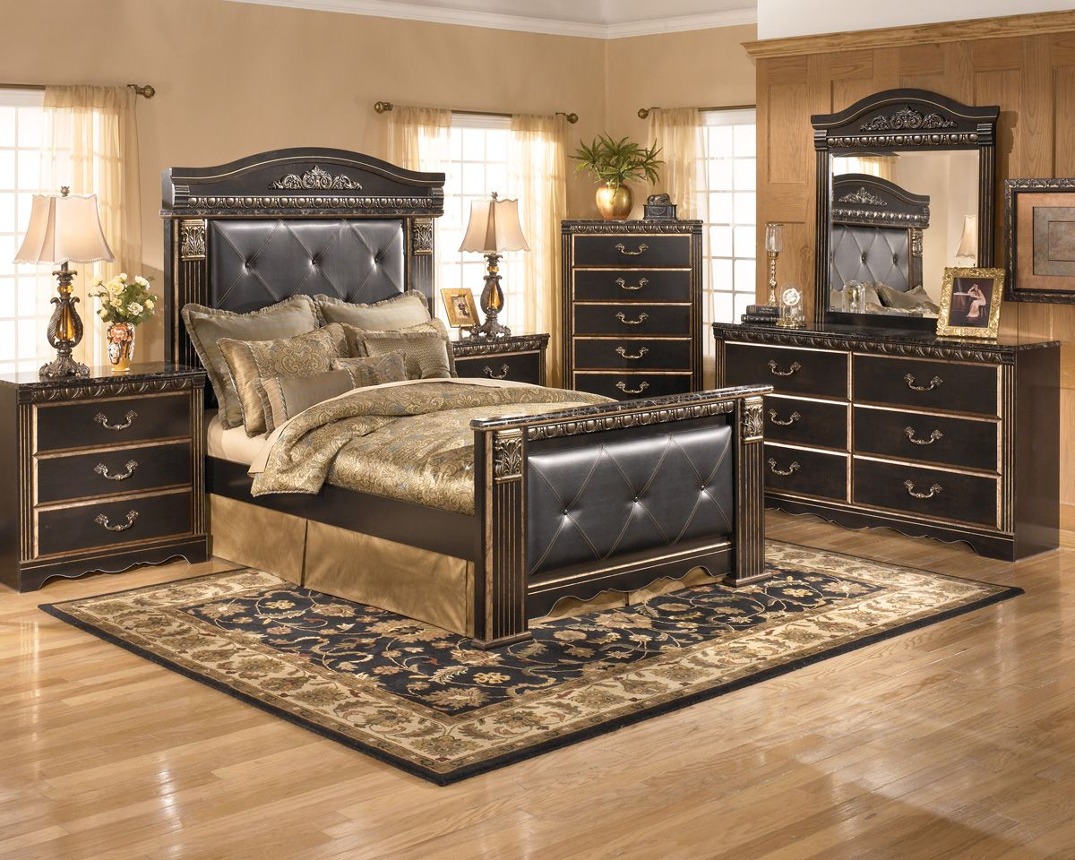 Ashley bedroom furniture black - Description Dimensions More Info Ashley Furniture Coal Creek Storage Bedroom Group Includes Bed Dresser Mirror Chest And Two Nightstands The Grand