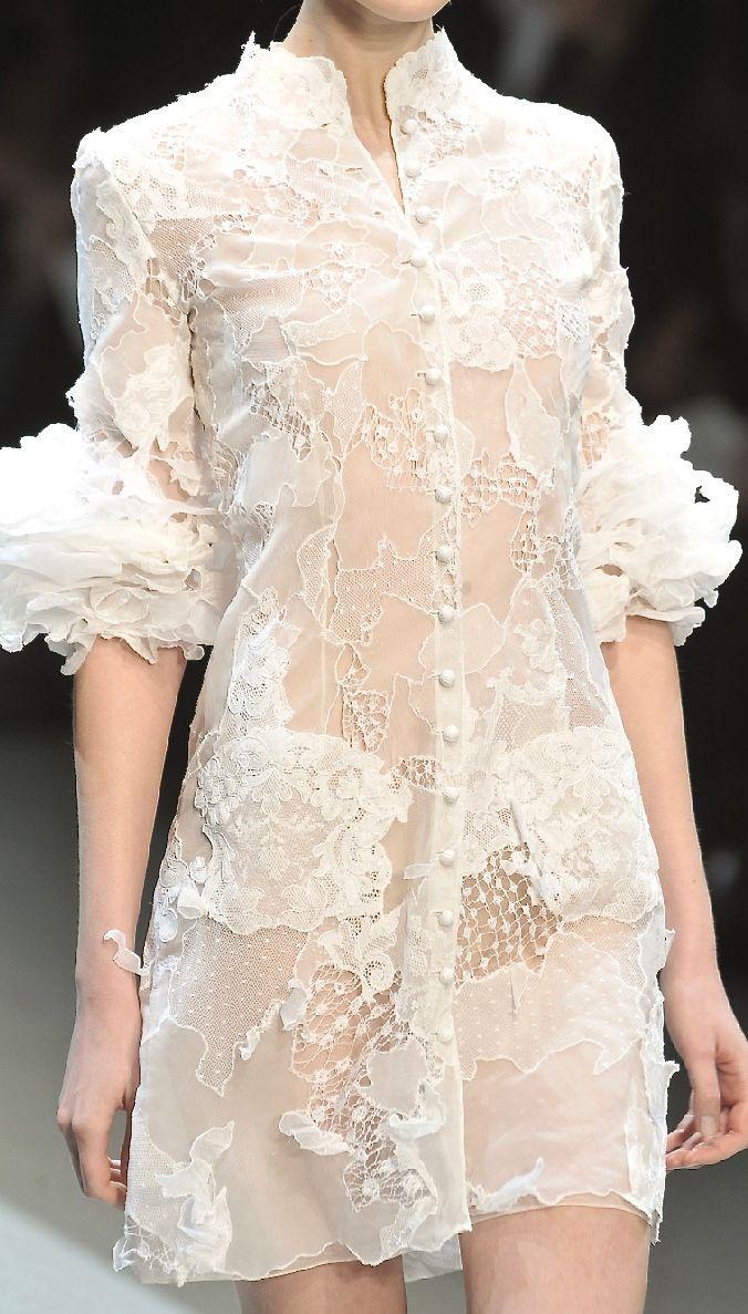 Robe blanche courte haute couture
