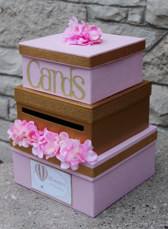 Custom Card Box, Girl Birthday, Wedding, 3 Tier, Card