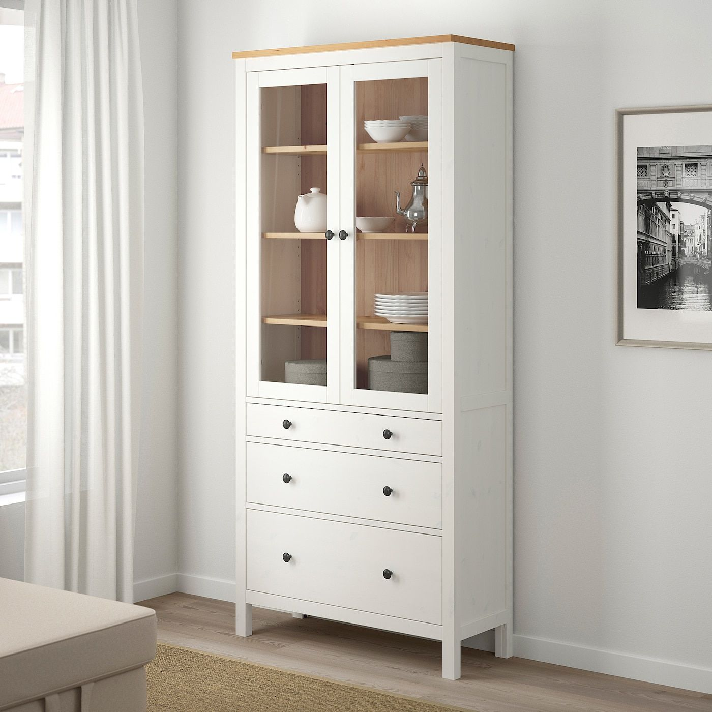 Hemnes Glass Door Cabinet With 3 Drawers White Stain Light Brown 35 3 8x77 1 2