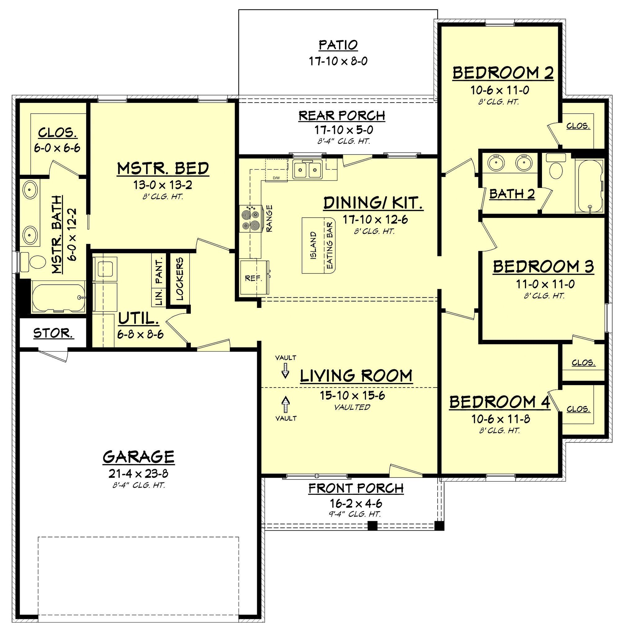 Amazing four bedroom home design under 1600 square feet ...