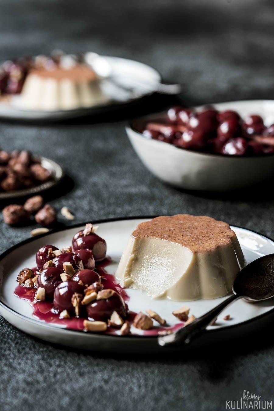 Zimt Panna Cotta Mit Gluhweinkirschen Rezept Mit Bildern Weihnachtsmenu Nachspeise Panna Cotta Einfacher Nachtisch
