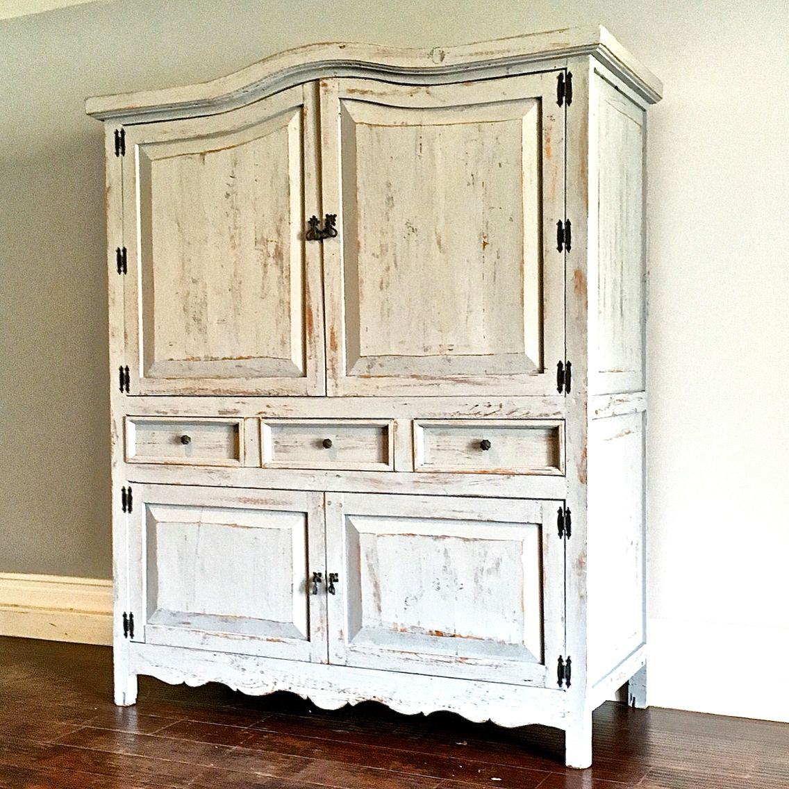 White Kitchen Hutch: Shabby Chic Gray & White Kitchen Hutch