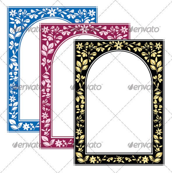 3 Vector Color Floral Arch Frames With White Center Eps 8 3 Jpg Files 35004872 Layered Floral Arch Flower Frame Frame