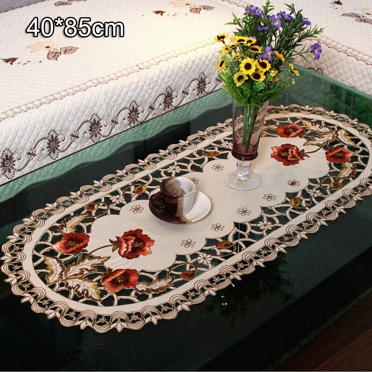 yesurprise 1pcs nappe de table ovale modèle 229 beige broderie 40