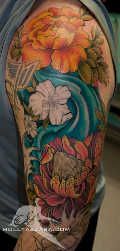 6e5e0f903 Tropical-Flowers-and-Water-tattoo-Sleeve | Tattoo designs | tats ...