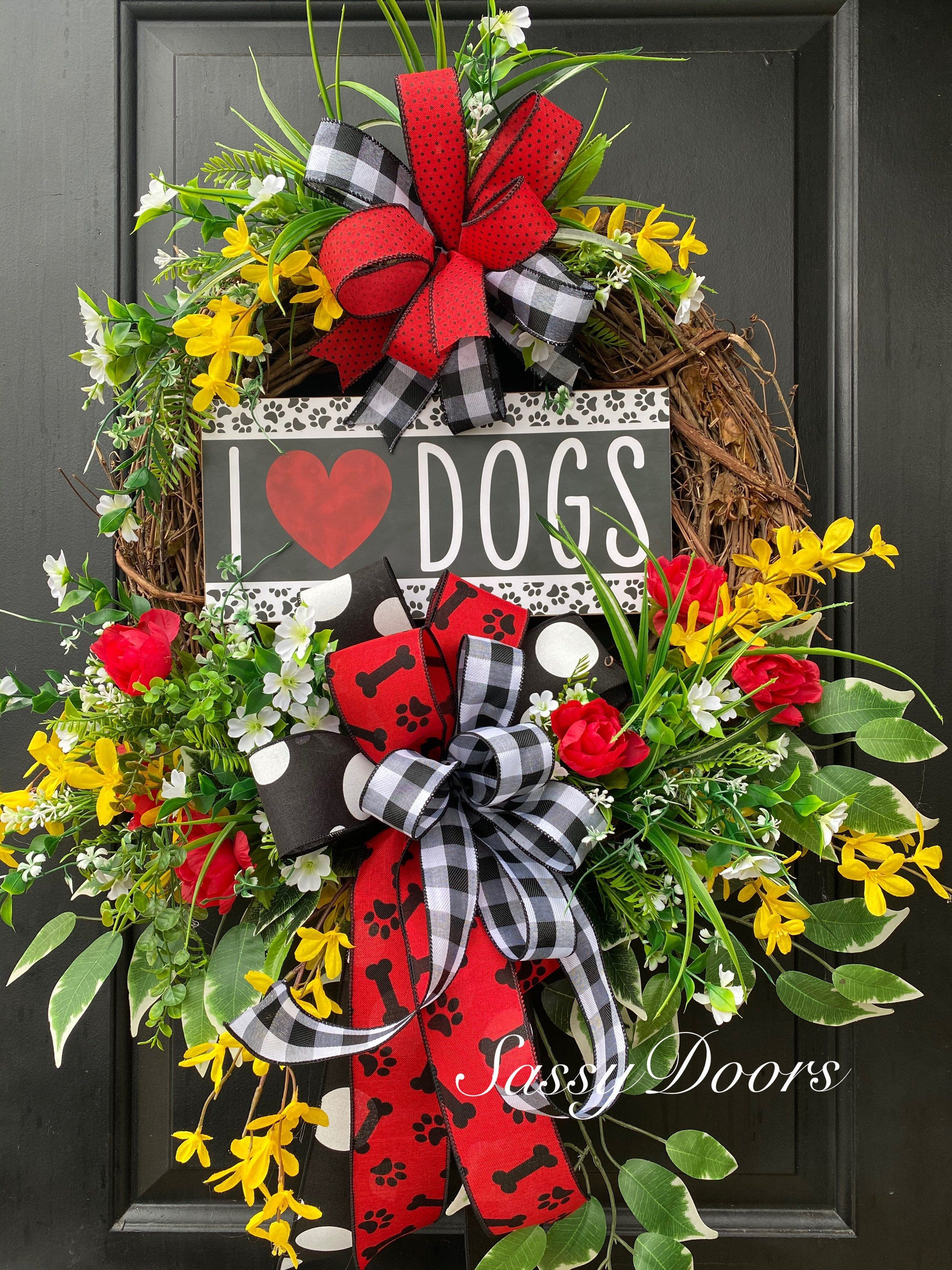 Photo of Everyday Wreath, Dog Rescue Wreath,  Paw Print Wreath, Animal Lovers Wreaths, Front Door Wreath, Awareness Door Wreath, Sassy Doors Wreath