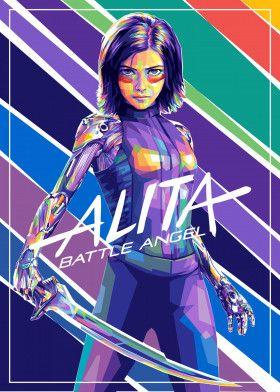 Alita Battle Angel, cyberpunk action movie, an adaptation from manga comic Gunnm series by… | Displate thumbnail