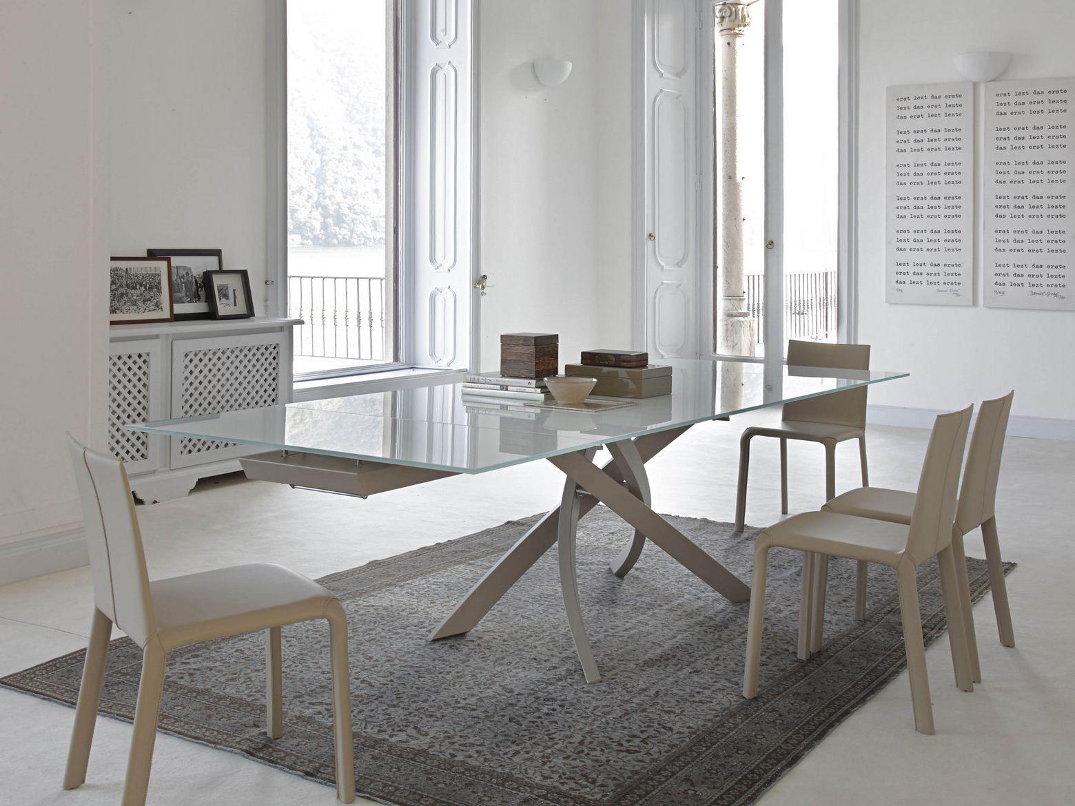 ARTISTICO Tavolo in legno e vetro by Bontempi Casa