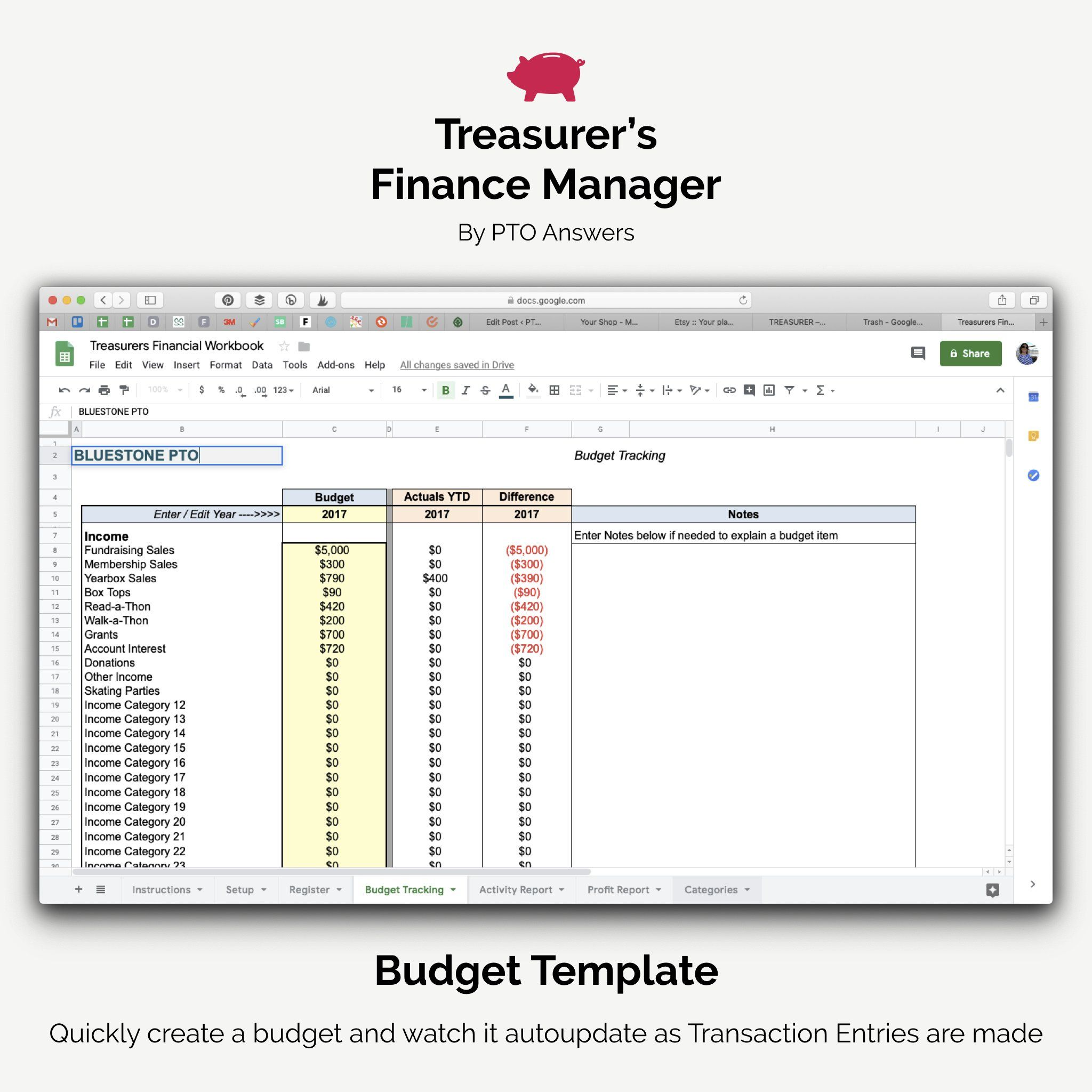 Treasurer S Finance Manager Spreadsheet And Workbook For Excel And