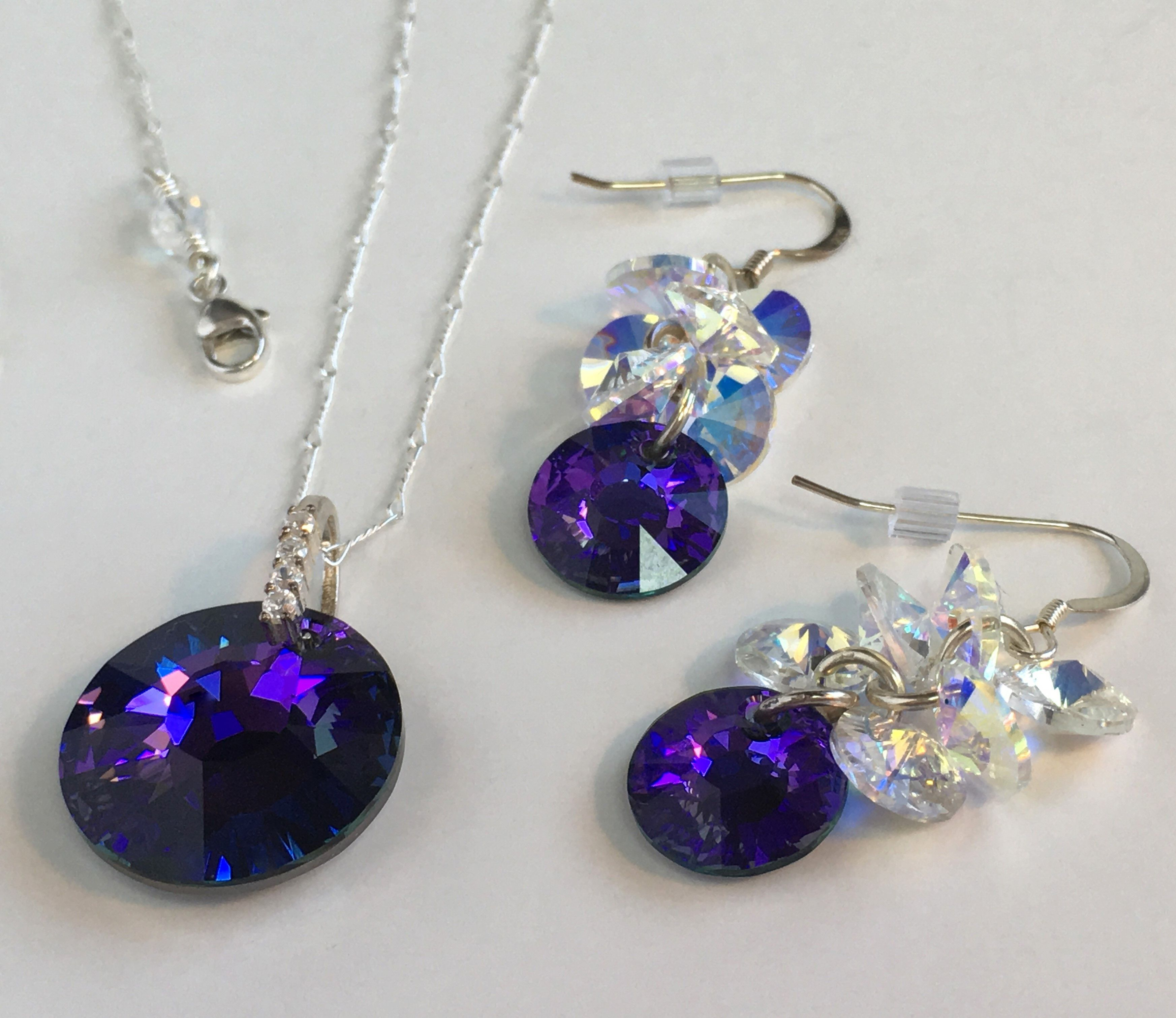 713979acb Purple Sun Swarovski Necklace and Earrings in Sterling Silver | Products