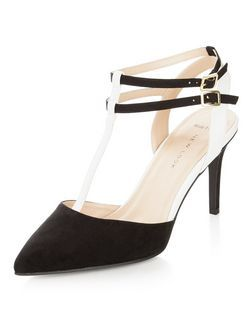 65dba5f00b40 Wide Fit Black Suedette Double Ankle Strap Heels