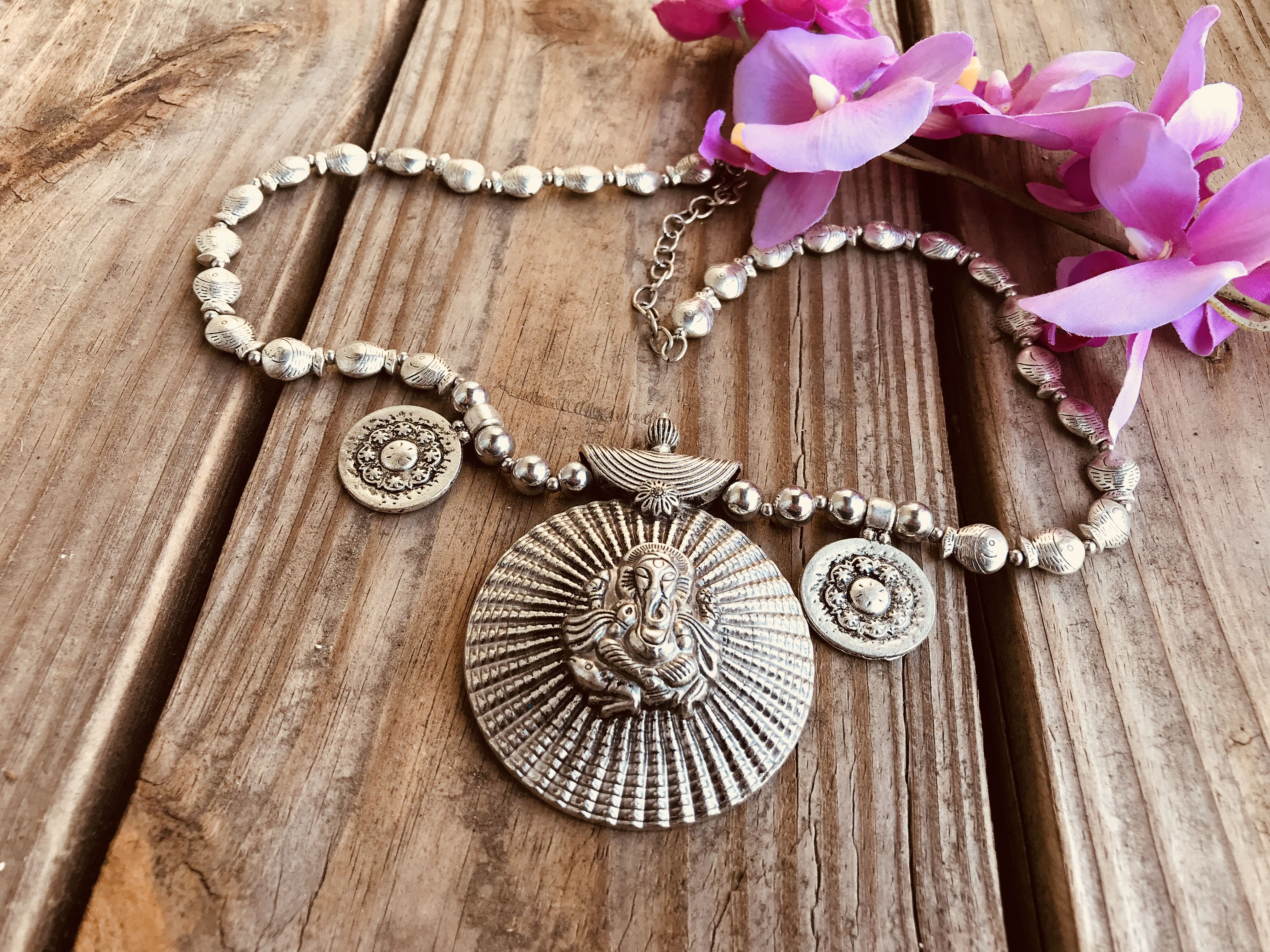 German Silver Ganesha Necklace Indian sarees, Jewelry