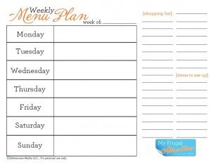 menu planner worksheet