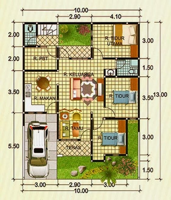 Layout Rumah Type 100 1 Lantai Google Search Design