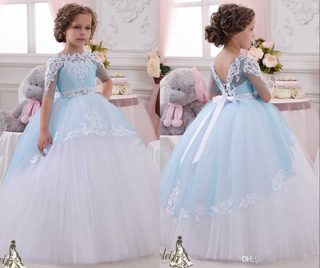 2016 crystals lace ball gown short sleeves flower girl dresses wedding dress ombrellifo Images