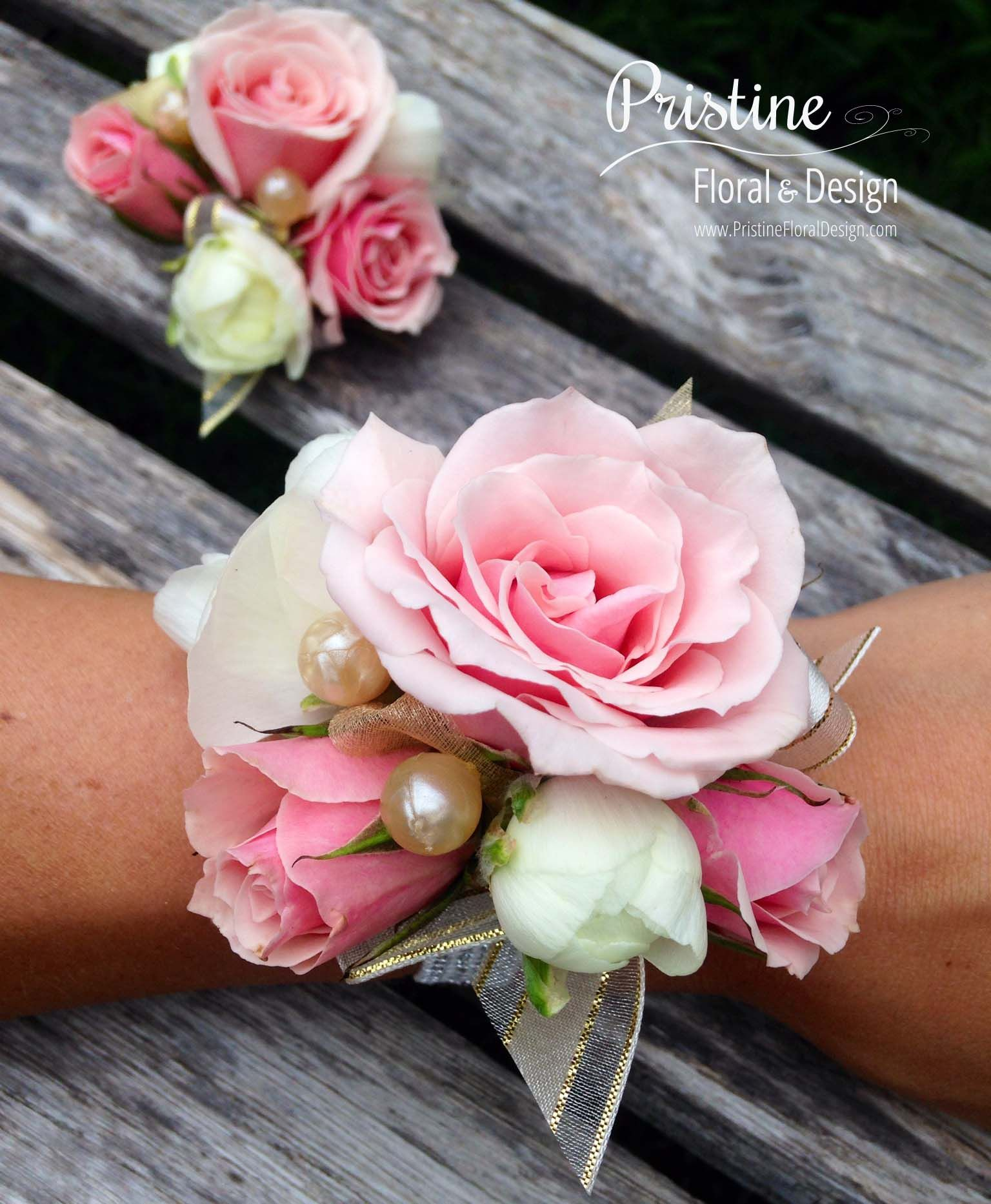 Wrist Corsages - Blush Mini Pink Roses, White Ranunculus & Pearls ...