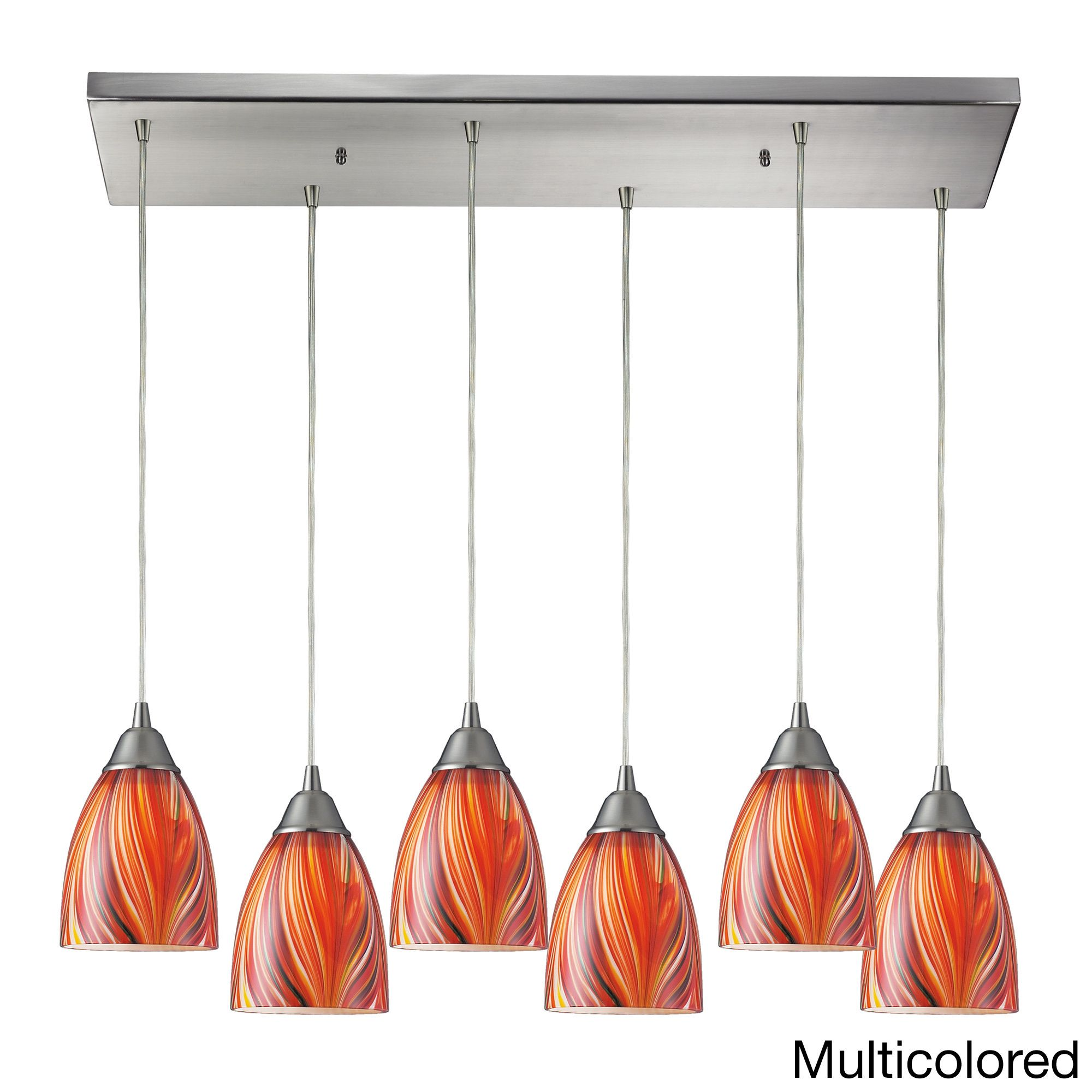 Elk lighting arco baleno 6 light colored glass and satin nickel elk lighting arco baleno 6 light colored glass and satin nickel pendant pendant with arubaitofo Image collections