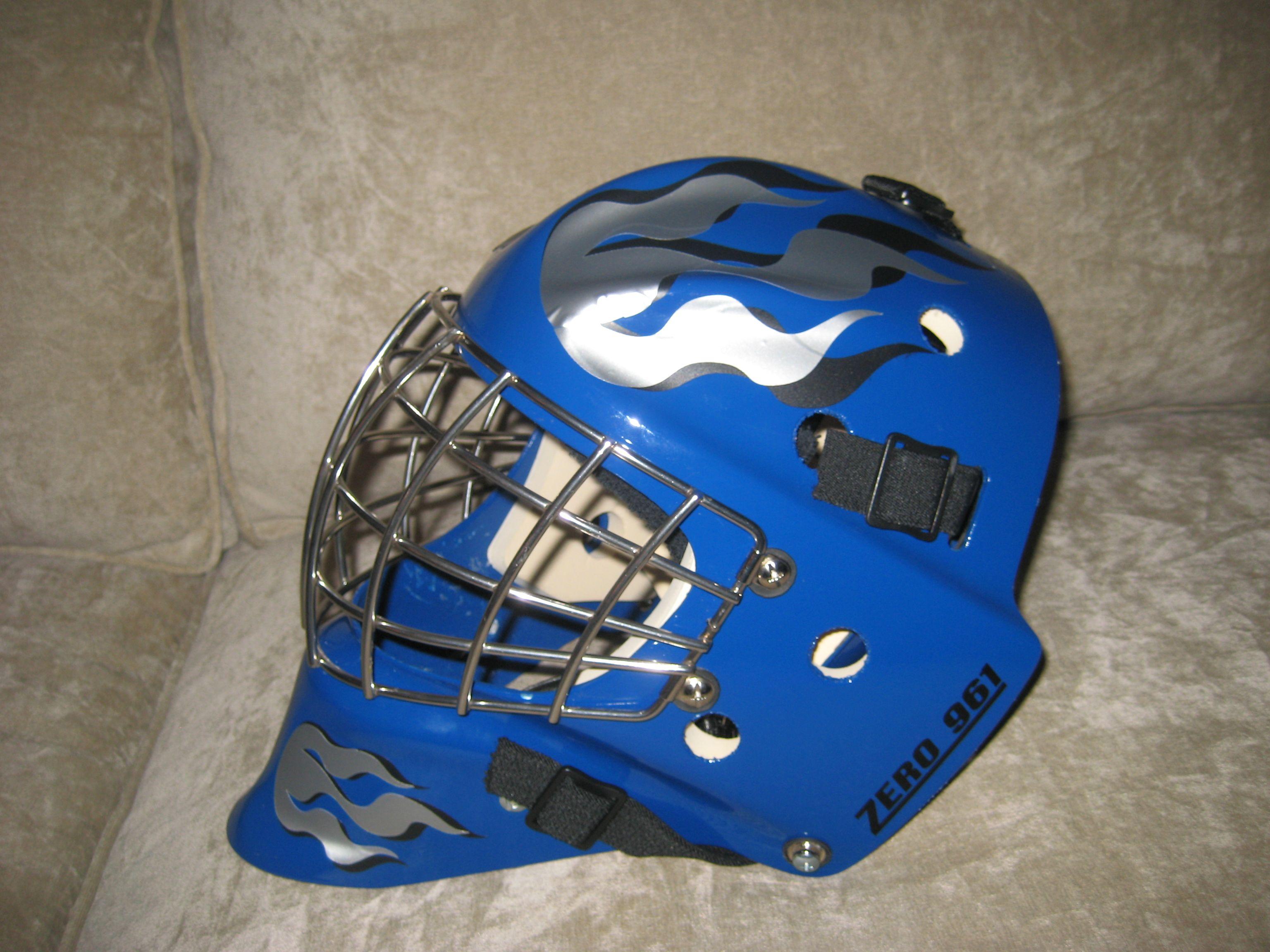 Flames On My Hubby S Goalie Helmet Using My Cricut And Vinyl Hockey Helmet Football Helmets Helmet
