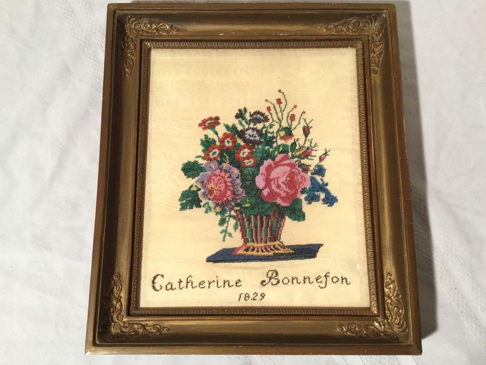 Antique Beaded Needlepoint Catherine Bonnefon 1829 Victorian Framed ...