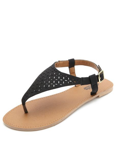 bbf2f4bd9 Flat Laser-Cut Thong Sandals  Charlotte Russe