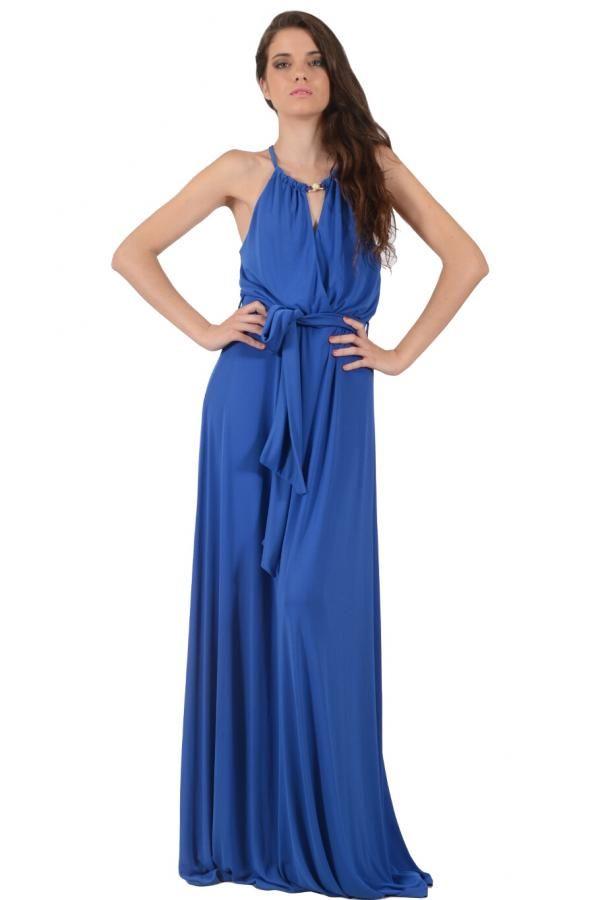38abdfd0f043 Φόρεμα μακρύ σε άνετη γραμμή με δέσιμο στον λαιμό και κρουαζέ σχέδιο εμπρός  και πίσω και